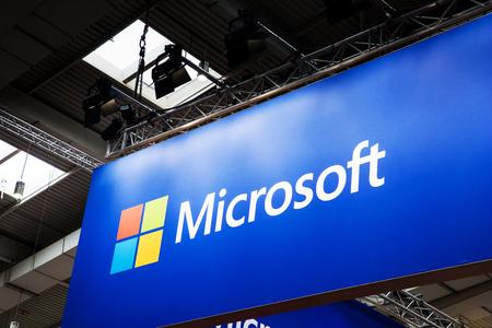 マイクロソフトブースは、ハノーバー、ドイツのメッセフェアに立っています