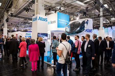 Atos Bitkom booth stand on Messe fair in Hannover, Germany
