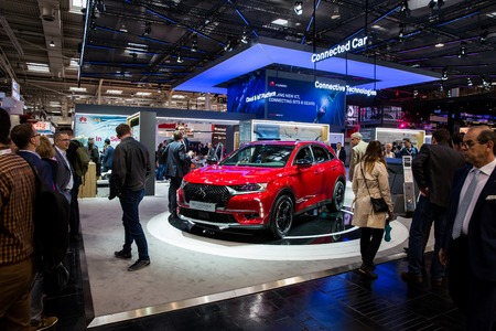 Connective technologies, connected DSt Crossback car on Huawei booth stand on Messe fair in Hannover, Germany