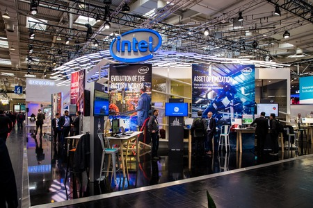 Intel booth stand on Messe fair in Hannover, Germany