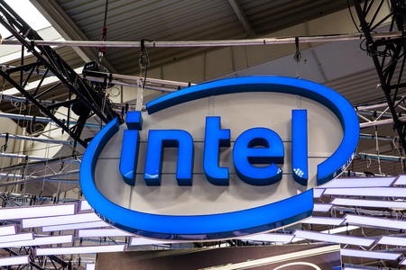 Intel logo sign on booth stand on Messe fair in Hannover, Germany