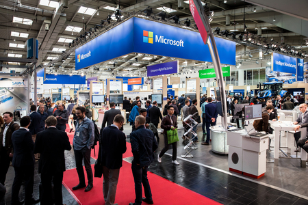 Microsoft booth stand on Messe fair in Hannover, Germany Editöryel