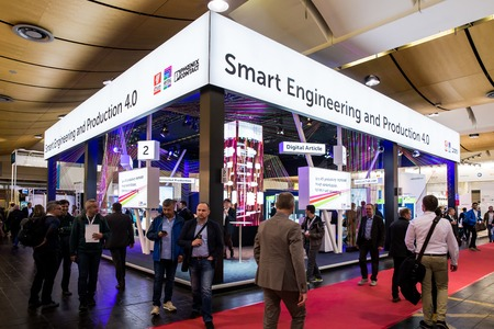 Smart engineering and production 4.0 booth stand on Messe fair in Hannover, Germany