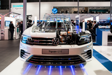 Digital Enterprise in the automotive industry, Volkswagen Tiguan prototype on Siemens stand on Messe fair in Hannover, Germany