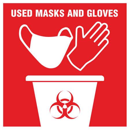 Red sign of trash bucket for used medical mask and gloves concept icon Vektorgrafik