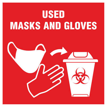 Red sign of trash bucket for used medical mask and gloves concept icon