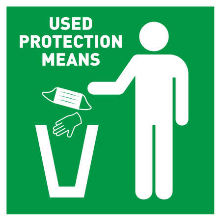 Warning sign, icon info. Disposing bin for used face masks, gloves, ppe only sticker. Dispose of face masks here. Poster for a trash can, bin for throwing out used individual protective equipment in hospital, clinic.