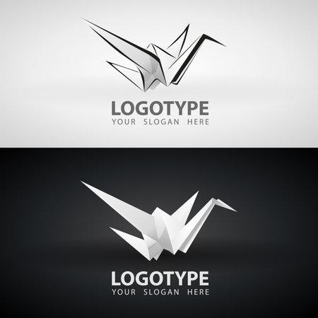 Origami paper crane Bird Grayscale icon or logo Design. White isolated logo origami abstract polygon icon designs vector illustration flat style. Paper Bird Symbol Logo.