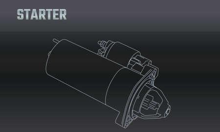 Line vector auto moto parts accessories starter. Repair service equipment. Engine elements shop catalog. Vintage vehicle symbol. Retro motorcycle mechanic. Design element background. Vecteurs