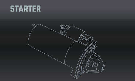 Line vector auto moto parts accessories starter. Repair service equipment. Engine elements shop catalog. Vintage vehicle symbol. Retro motorcycle mechanic. Design element background. Vetores