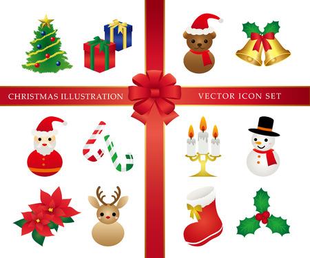 colourful tie: Christmas icon set