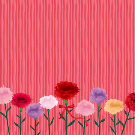 Vintage frame with carnation flower
