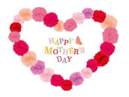 Mother's day vintage greeting card with carnation flowers.