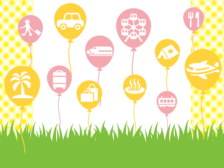 Leisure icon material set with a grassy background. Illustration