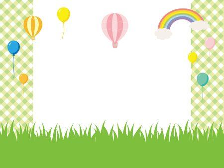 suburban: Green field and balloon background. Illustration