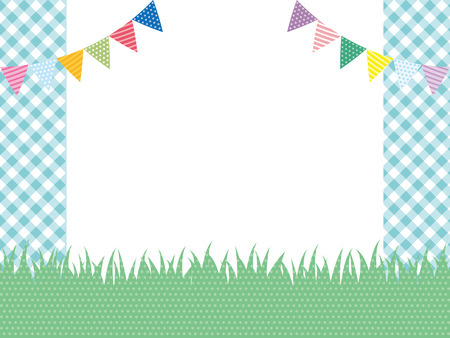 Green field and garland background Illustration