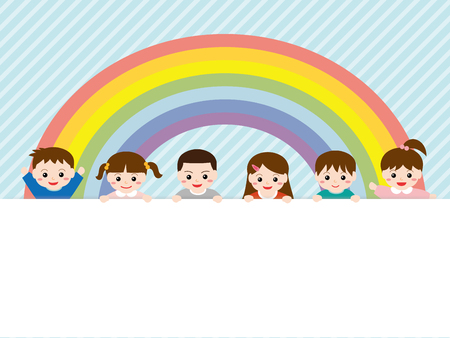 Children with copy space. Illustration