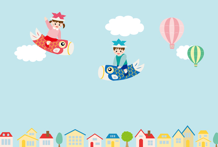Childs day background with children on carp streamers.