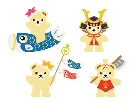 Childs day bear illustration set. Illustration