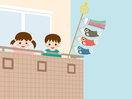 veranda: Children who look out from the veranda and carp streamers. Illustration