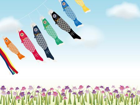 Carp streamers on childs day background. Illustration