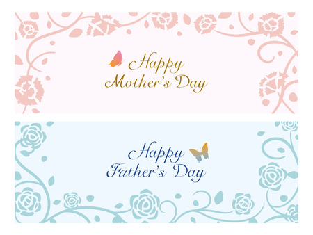 Mother's day and Father's day greeting card set.