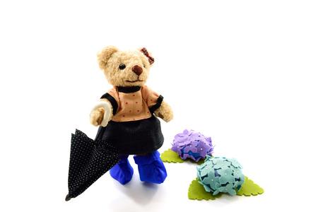Teddy bear of the rainy day Stock Photo