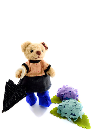 Teddy bear of the rainy day Stock Photo
