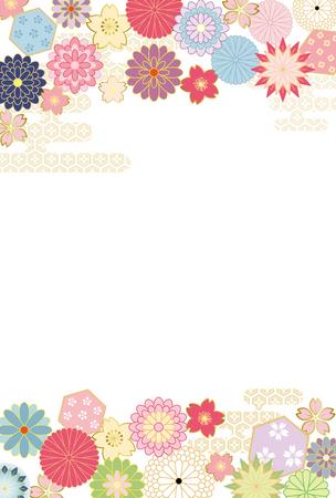 日本の花パターンの背景。  イラスト・ベクター素材