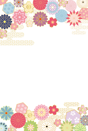 chinese new year card: Japanese flower pattern background. Illustration