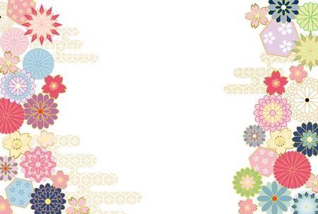 Fondo japonés del modelo de flor. Foto de archivo - 75380819