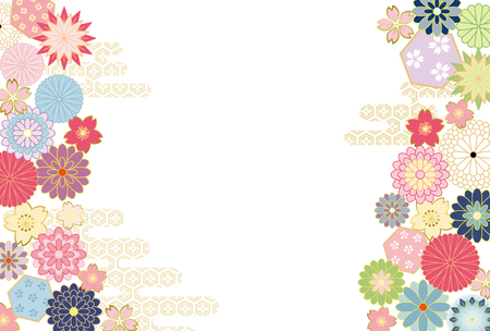 Japanese flower pattern background. Ilustrace