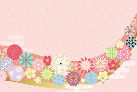 Japanese flower pattern background. 일러스트