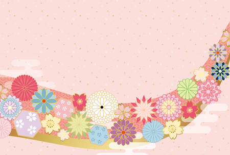Japanese flower pattern background. Illustration