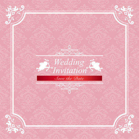 Vintage wedding invitation card  イラスト・ベクター素材