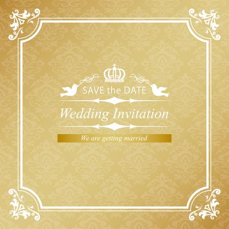 Gold vintage wedding invitation card