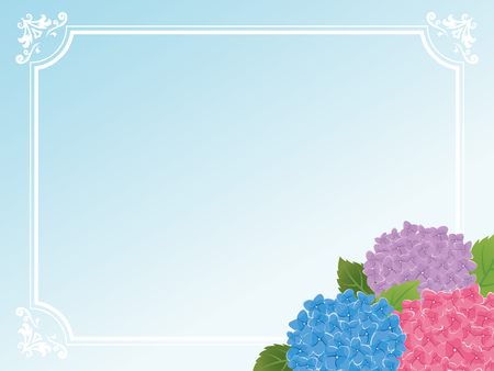 Vintage frame card of Hydrangea flower.