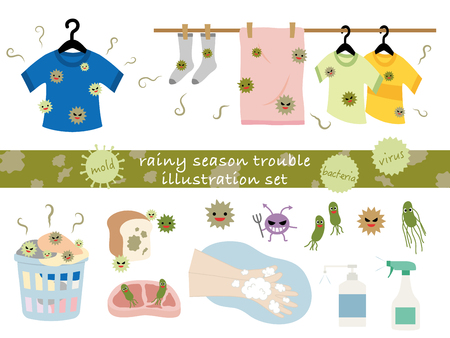 bacteria cell: Illustration set of the rainy season trouble.