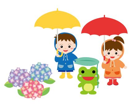 Children playing outside on the rainy season.
