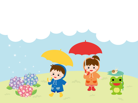 Children playing outside on the rain