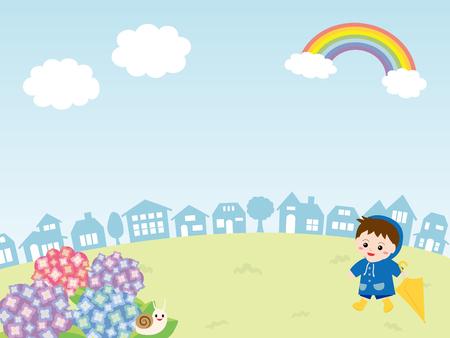rainbow umbrella: Child in the rainy townscape. Illustration
