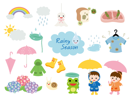 rainbow umbrella: Rainy season illustration set.