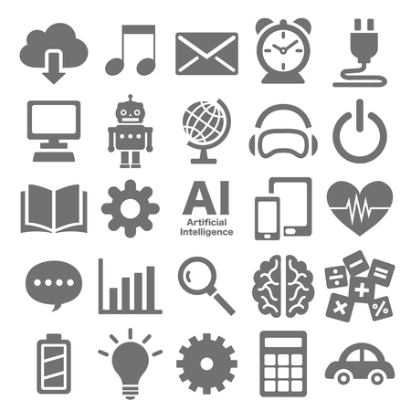 Icon set of artificial intelligence Ilustrace