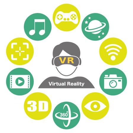 Virtual reality colorful icon Illustration