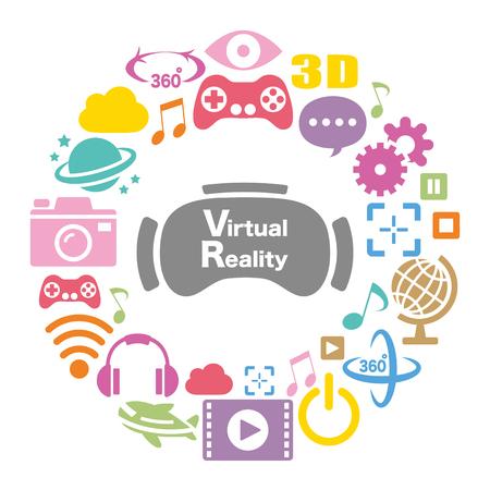 Virtuelle Realität bunte Ikone