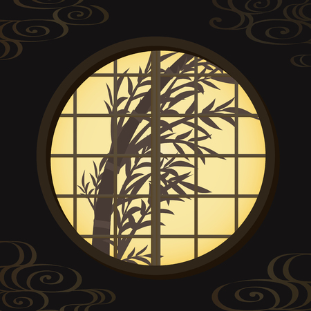 chinese new year card: Bamboo grasses silhouette from the Japanese window Illustration