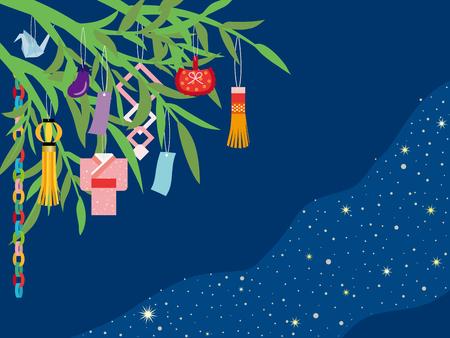 日本の伝統行事の七夕  イラスト・ベクター素材