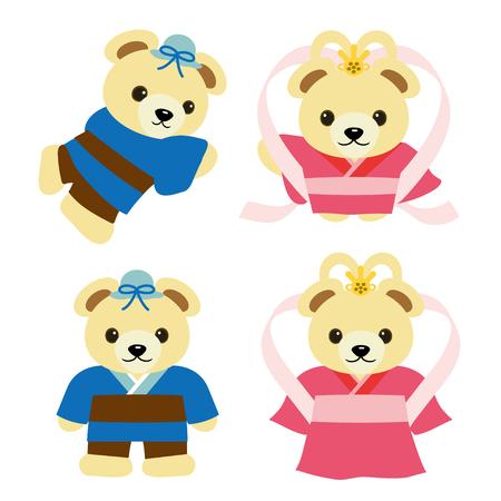 타나바타 전설에서 오리 히메와 히코 보시가 된 곰