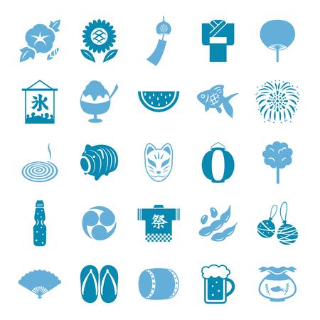 Japanese summer icon set Ilustrace