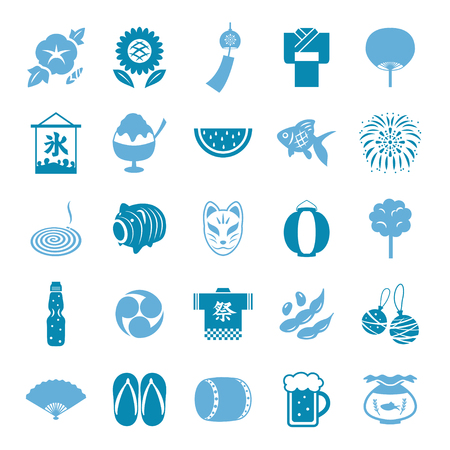 Japanese summer icon set Ilustração